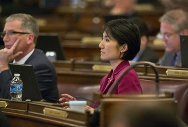 State Rep. Patty Kim, D-Harrisburg, listens to a debate that played out on the House floor in 2013 over a liquor privatization bill. The House Liquor Committee will take up a nearly identical version of that bill at its meeting today.
