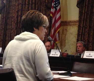 Ronda Zeigler, co-owner of the Midway Tavern and Franklin House Tavern in Hanover, testifies to the House Gaming Oversight Committee about the ordeal she went through to obtain a tavern gaming license.