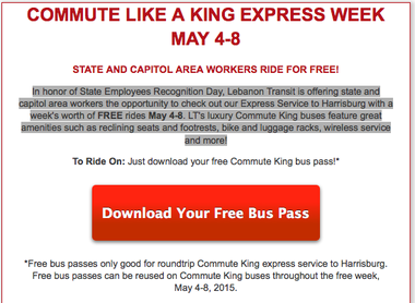 This is an ad that appears on Lebanon Transit's website about its free ride offer.