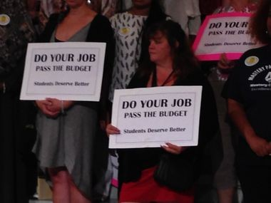 A group of about 50 representatives from the Public Citizens for Children and Youth traveled from Philadelphia to Harrisburg on Tuesday to urge lawmakers to pass a budget and restore school funding.