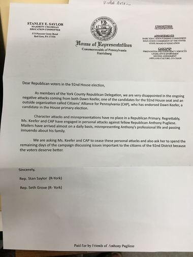 This letter about GOP candidates in the 92nd state House District primary contest has caused a few people to do a double take, questioning whether it is legal and ethical. State Ethics Commission says it is.