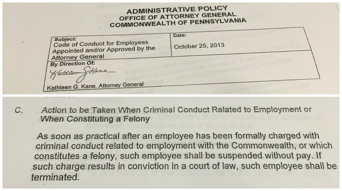 A 2013 administrative policy signed by Kathleen Kane stipulates that employees charged with crimes related to their employment shall be suspended without pay. a Conviction will result in their termination.