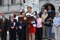 Colleen Sheehey-Church, president of Mothers Against Drunk Driving, celebrates Pennsylvania's newest law tackling drunk driving at the Capitol on Wednesday.