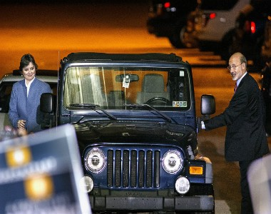 Then-Gov.-elect Tom Wolf and wife Frances motored into the celebration of his gubernatorial victory on Election Night 2014 held at the York Fairgrounds in his signature Jeep.