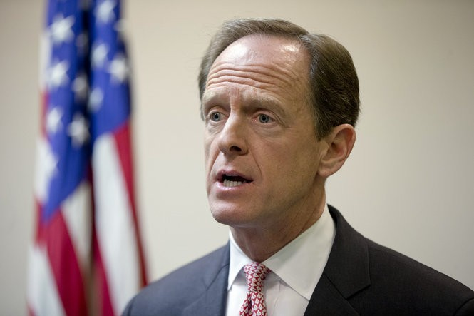 Pat Toomey has walked a fine line between not publicly endorsing Donald Trump and not outright rejecting him, either. (AP Photo/Matt Rourke, File)