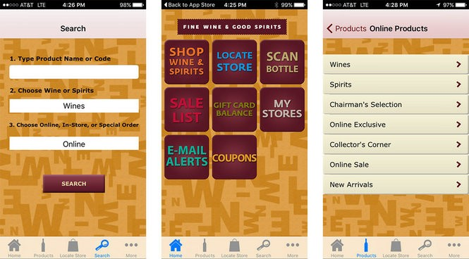 A screenshot of the state's mobile app that customers can use to find coupons for liquor and wine.