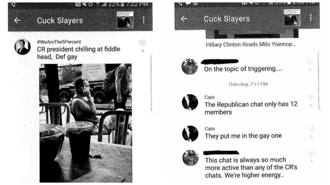 Samples of the leaked GroupMe chats that included members of the pro-Trump Bull Moose Party student group at Pennsylvania State University.