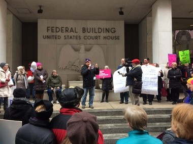 Gene Stilp talks at the Harrisburg 'Tuesday with Toomey' protest on Jan. 31, 2017.