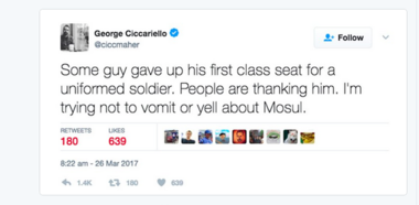 This is a screenshot of Drexel University professor George Ciccariello-Maher's latest controversial tweet.