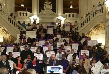 "Jeff Garish, emcee at Monday's Pennsylvania's Choice rally in the Capitol, speaks to an estimated 500 attendees rallying for a ""decent, on-time, balanced budget."""