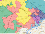Pennsylvania's7th Congressional district has been called one of the most gerrymandered in the country. One author described its shape as cartoon character Goofy kicking Donald Duck.