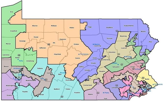Pennsylvania's current, and endangered, Congressional map.