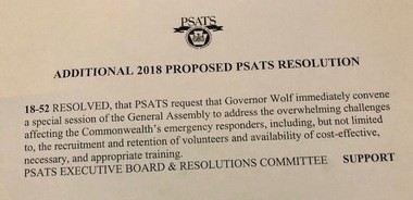 This is the resolution passed by the Pennsylvania State Association of Township Supervisors on Tuesday urging Gov. Tom Wolf to call a special session to address firefighter and EMS volunteer shortages.