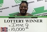 Irene Grant of Adamstown was the first big-prize Keno winner in Pennsylvania. She claimed her $10,000 prize on Thursday at Pennsylvania Lottery headquarters.