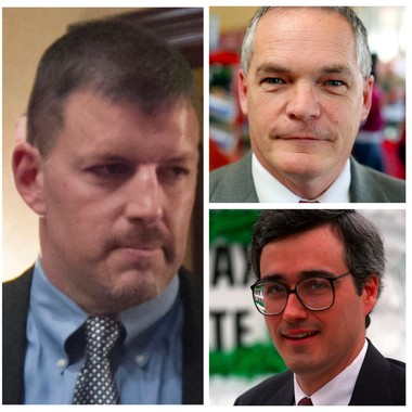 These three former Pennsylvania Lottery executive directors Todd Rucci (at left), Ed Trees (top right) and Chuck Kline now work for Scientific Games International or one of its subcontractor.