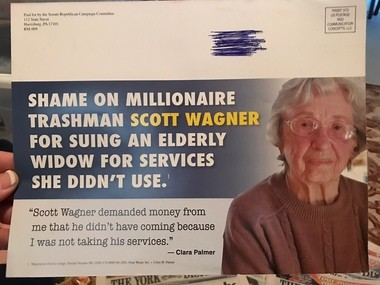 This is a mailer sent out in 2014 by the Senate Republican Campaign Committee against Scott Wagner during what turned out to be a successful write-in state senatorial campaign.