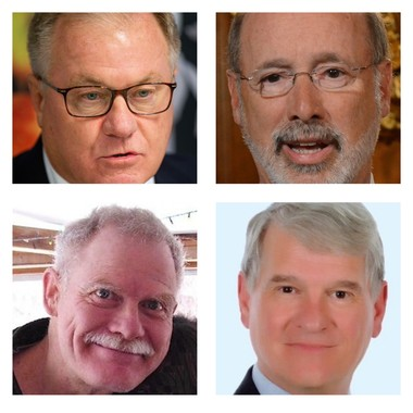 Running for governor in this year's election are (clockwise from top left) Republican Scott Wagner, Democratic incumbent Tom Wolf, Libertarian Ken Krawchuk, and Green Party candidate Paul Glover.