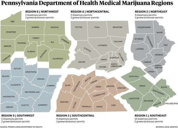 The Department of Health has split the state into which the dispensary and grower/processor permits will be allocated.