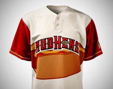 The International League's Toledo Mud Hens, Triple-A affiliate of the Detroit Tigers, will wear this hot dog-themed jersey for their Saturday-night home game against the Pittsburgh Pirates' top affiliate, the Indianapolis Indians.