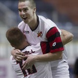 Celebrating one of the 18 goals he scored during the 2012-13 season, the Harrisburg Heat's Tom Mellor leaps into the arms of a teammate. Mellor is one of eight players who have signed with the indoor club before the start of training camp.