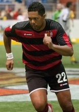 Val Teixeira, shown earlier this season, collected the game-winning score last weekend in the Harrisburg Heat's come-from-behind 9-8 win over Detroit.