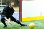 Sam Bishop, shown warming up earlier this season, suffered the loss Saturday night despite piling up 18 saves for the Harrisburg Heat.