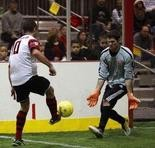 Shown last season, David Schofield bagged two goals as the Harrisburg Heat downed the Cincinnati Saints 10-5 Saturday night at the Equine Arena.