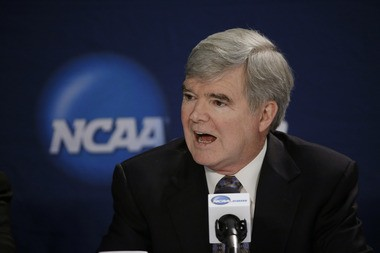 FILE - NCAA President Mark Emmert has been asked anew by several Pennsylvania Congressman to end two key Sandusky-related sanctions against the Penn State football program. (AP Photo/David J. Phillip, File)