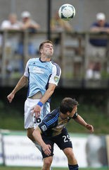 Shown in last season's friendly against Major League Soccer's Philadelphia Union — ironically against 2014 teammate Antoine Hoppenot — Matt Bahner was the lone Harrisburg City Islanders player to land on an all-league team.
