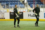 Shown during warmups last season, goalkeeper Justin Johnson (left) has agreed to terms with the Major Arena Soccer League on a new contract. The former Central Dauphin High School star will be entering his third season with the Heat.