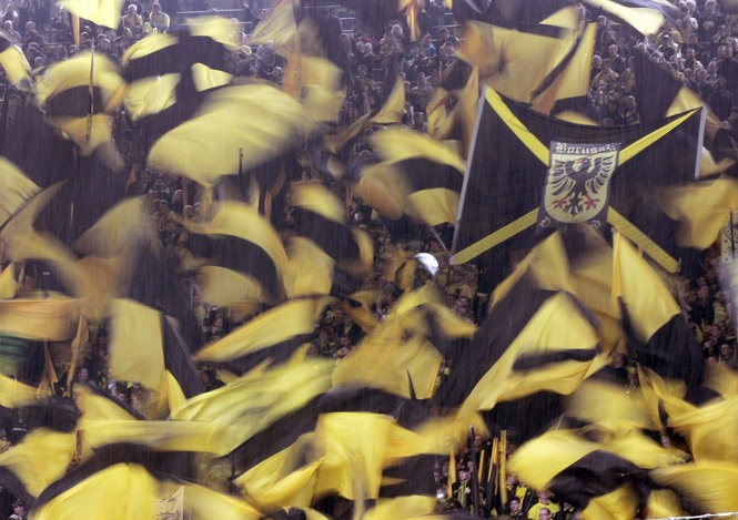 Borussia Dortmund fans shown May 5, 2012 in Dortmund, Germany at their home Westfalenstadion, which boasts a capacity of 81,359 and contains the largest terraced stand in world soccer. It holds nearly 25,000.