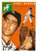 Scheib's 1954 Topps trading card.