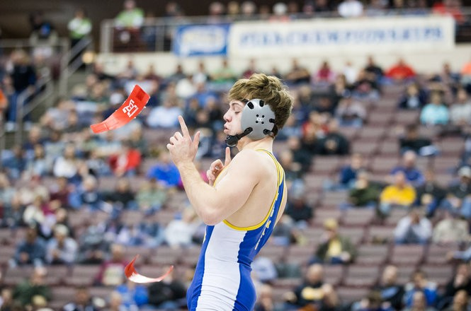 official photos 175cd 445d1 ... Macri celebrates his win over Downingtown Wests Doug Zapf during their  120lb bout in the PIAA Class 3A wrestling finals at Giant Center. March 10,  2018.