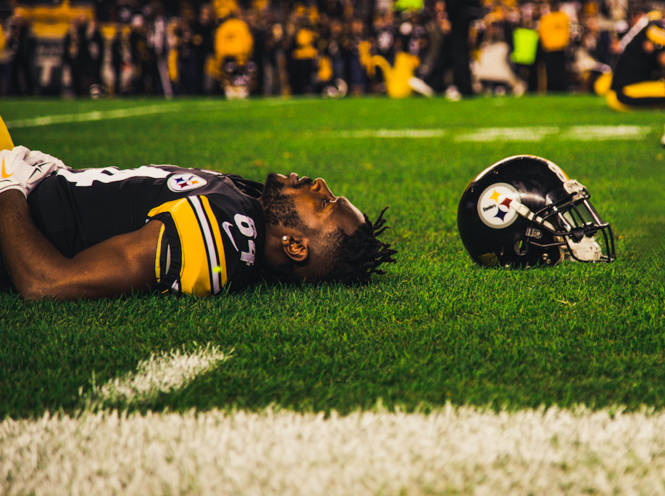 8ad9fa794126 The Steelers' 4-time first-team All-Pro wideout Antonio Brown, here  reclining before the Patriots game, has turned into a diva possibly not  worth the ...