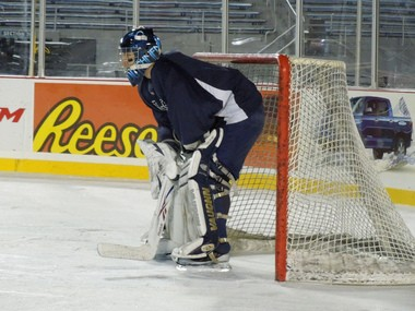 Catherman between the pipes during practice for the Dutchmen Outdoor Classic: photo by Derek Meluzio