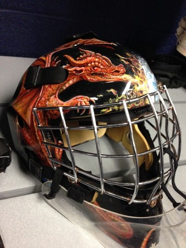 This is the mask that Katie Vaughan of the Penn State Women's Ice Hockey Club will be sporting for her Senior season.