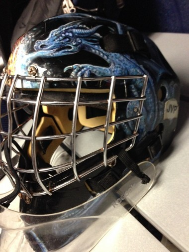 Catch Katie Vaughan wearing this mask when her and the Penn State Women's Ice Hockey Club visit the York Ice Rink in February 2014 for the CHE playoffs,