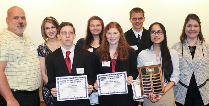 "Students from Middletown Area High School captured first place in the 2017 Chamber High School Business Challenge for their project called ""Polarus Systems."" Pictured (left to right): Mentor Brian Groff, Pennsy Supply Inc.; Emcee Amanda St. Hilaire, WHTM abc27; Students John Hursh, Jessaca Rusnov, Shannon Reese, Aaron Fischer, and Mai Dang; Larissa Bailey, Harrisburg Regional Chamber & CREDC. Not pictured are the team's advisers, Sean Burke and David Martin."