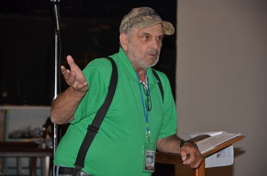 Bigfoot Day in Clearfield speaker Fred Saluga explains his view that there are three groups of Bigfoot enthusiasts.