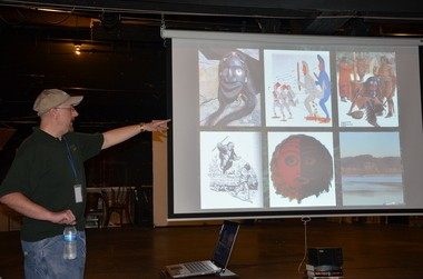 Eric Altman discusses Native American lore that could be related to Bigfoot at a recent Bigfoot conference in Clearfield.