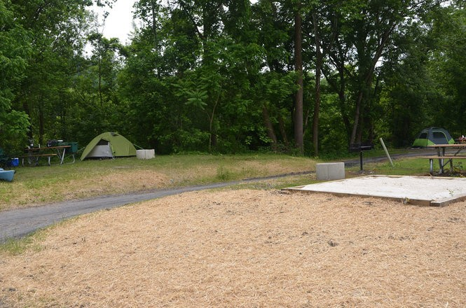 The new launch site at Mapleton Riverside Park includes prepared pads for tent camping.