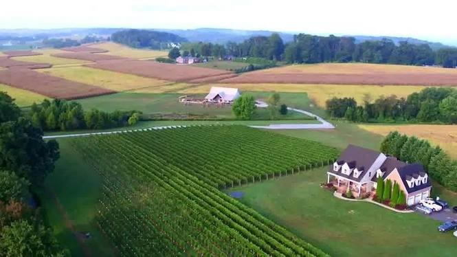 A view from the skies over the Old Westminster Winery property in Westminster, Maryland.