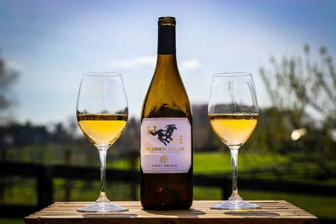 Pinot Grigio is one of a handful of dry wines that Hidden Hills Farm & Vineyard in Frederick, Maryland, sells.