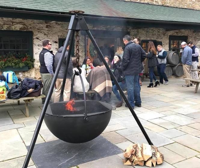 A December 2017 photograph of a new cauldron fire pit on the patio at Boordy Vineyards.