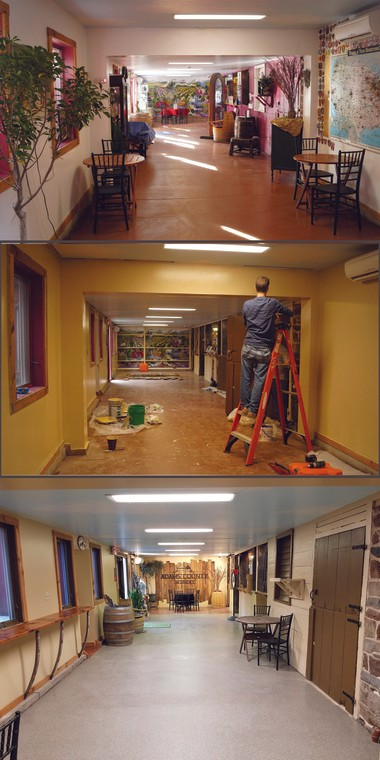 The renovation of the tasting room hallway, showing the before (top) and after, at Adams County Winery.