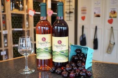 Logan's View Winery's two kinds of cherry wines: orchard and bing.
