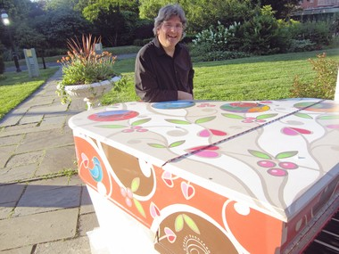 """Meiers Corners resident Robert Padavano with """"Songbirds,"""" the piano he designed and painted for """"Sing for Hope Pianos."""" Staten Island Advance/Virginia N. Sherry"""