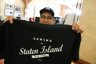 James Park hides behind a new t-shirt made for the Staten Island Broadway Stages, a premier TV, film and music video production that has moved into the former Arthur Kill Correctional Facility, Charleston. (Staten Island Advance/ Jan Somma-Hammel)