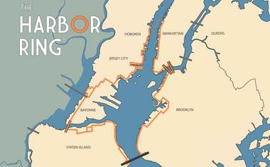 An image of the Harbor Ring committee's 50-mile pathway around New York Harbor, through New York and New Jersey. (Image courtesy of the Harbor Ring Facebook page)