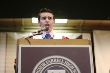 Valedictorian Salvatore Volpe addresses his fellow graduates at the 51st Commencement Exercise at Monsignor Farrell High School on Saturday, May 23. (Staten Island Advance/Vincent Barone)